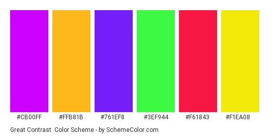 Great Contrast - Color scheme palette thumbnail - #cb00ff #ffb81b #761ef8 #3ef944 #f61843 #f1ea08