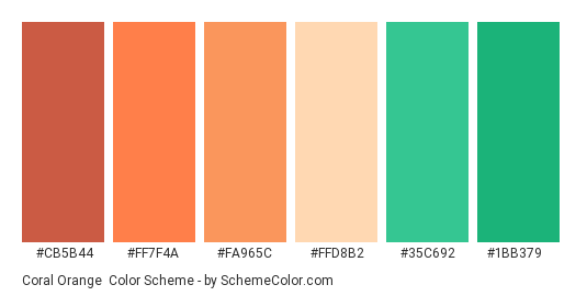 Coral Orange - Color scheme palette thumbnail - #cb5b44 #ff7f4a #fa965c #FfD8B2 #35c692 #1bb379