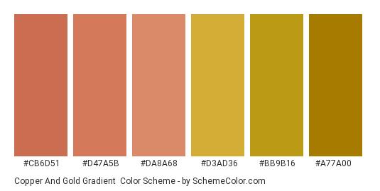 Copper and Gold Gradient - Color scheme palette thumbnail - #cb6d51 #d47a5b #da8a68 #d3ad36 #bb9b16 #a77a00