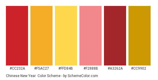 Chinese New Year - Color scheme palette thumbnail - #cc232a #f5ac27 #ffd84b #f2888b #a3262a #cc9902