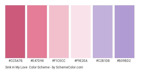 Sink In My Love - Color scheme palette thumbnail - #cc5a7b #e47d98 #f1c0cc #f9e2ea #c2b1db #b09bd2