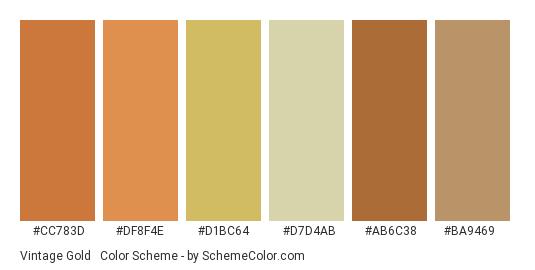 Vintage Gold & Orange - Color scheme palette thumbnail - #cc783d #df8f4e #d1bc64 #d7d4ab #ab6c38 #ba9469
