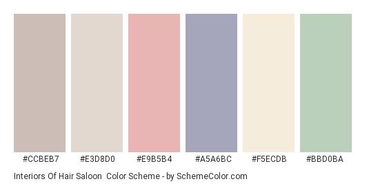 Interiors of Hair Saloon - Color scheme palette thumbnail - #ccbeb7 #e3d8d0 #e9b5b4 #a5a6bc #f5ecdb #bbd0ba