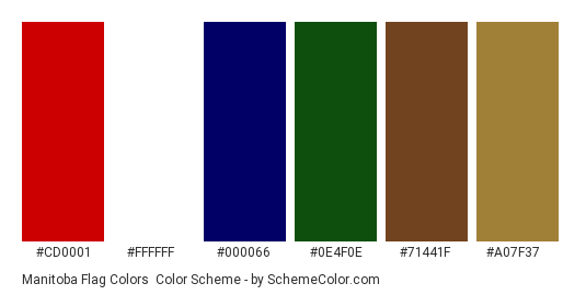 Manitoba Flag Colors - Color scheme palette thumbnail - #cd0001 #ffffff #000066 #0e4f0e #71441f #a07f37