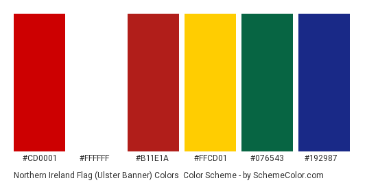 Northern Ireland Flag (Ulster Banner) Colors - Color scheme palette thumbnail - #cd0001 #ffffff #b11e1a #ffcd01 #076543 #192987