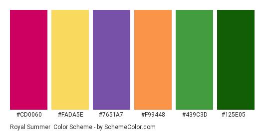 Royal Summer - Color scheme palette thumbnail - #cd0060 #fada5e #7651a7 #f99448 #439c3d #125e05
