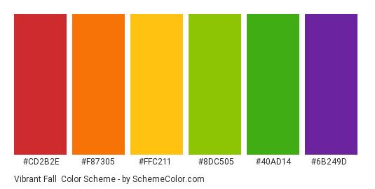 Vibrant Fall - Color scheme palette thumbnail - #cd2b2e #f87305 #ffc211 #8dc505 #40ad14 #6b249d