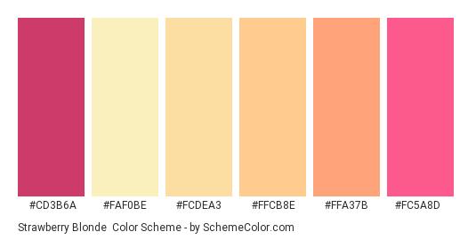 Strawberry Blonde - Color scheme palette thumbnail - #cd3b6a #FAF0BE #FCDEA3 #FFCB8E #FFA37B #FC5A8D