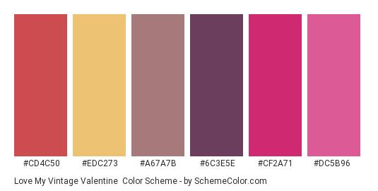 Love my Vintage Valentine - Color scheme palette thumbnail - #cd4c50 #edc273 #a67a7b #6c3e5e #cf2a71 #dc5b96
