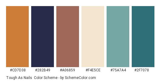 Tough as Nails - Color scheme palette thumbnail - #cd7d38 #282b49 #a06859 #f4e5ce #75a7a4 #2f7078