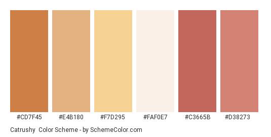 Catrushy - Color scheme palette thumbnail - #cd7f45 #e4b180 #f7d295 #faf0e7 #c3665b #d38273