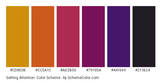 Getting Attention - Color scheme palette thumbnail - #cd8e0b #cc5a1c #ad2b50 #79105a #441669 #211B24