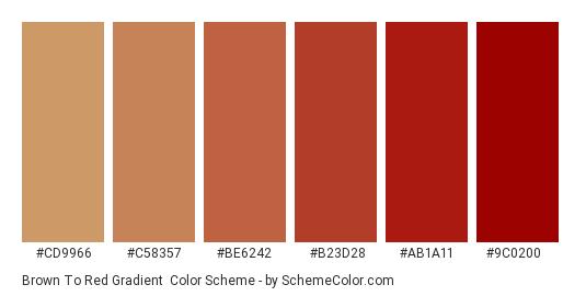 Brown to Red Gradient - Color scheme palette thumbnail - #cd9966 #c58357 #be6242 #b23d28 #ab1a11 #9c0200