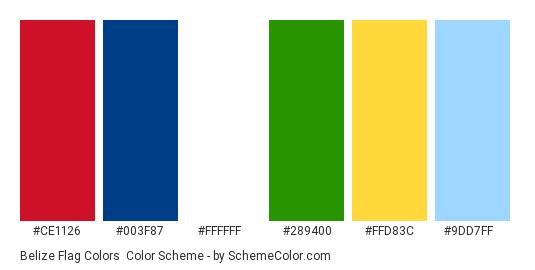 Belize Flag Colors - Color scheme palette thumbnail - #ce1126 #003f87 #ffffff #289400 #ffd83c #9dd7ff