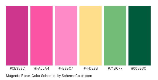 Magenta Rose - Color scheme palette thumbnail - #ce358c #fa55a4 #fe8bc7 #ffde8b #71bc77 #005b3c