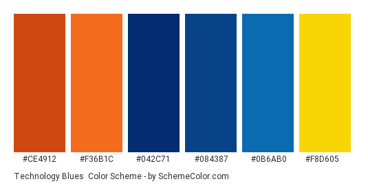 Technology Blues - Color scheme palette thumbnail - #ce4912 #f36b1c #042c71 #084387 #0b6ab0 #f8d605