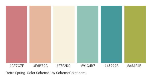 Retro Spring - Color scheme palette thumbnail - #ce7c7f #e6b79c #f7f2dd #91c4b7 #45999b #a8af4b