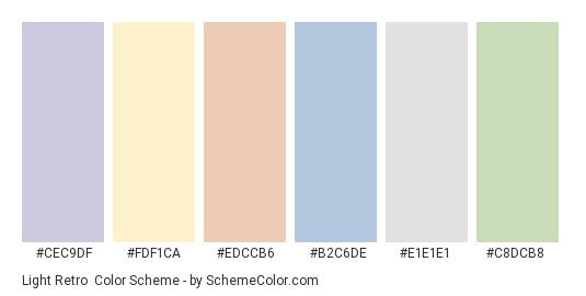 Light Retro - Color scheme palette thumbnail - #cec9df #fdf1ca #edccb6 #b2c6de #e1e1e1 #c8dcb8