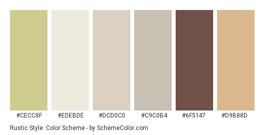 Rustic Style - Color scheme palette thumbnail - #cecc8f #edebde #dcd0c0 #c9c0b4 #6f5147 #d9b88d