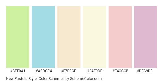 New Pastels Style - Color scheme palette thumbnail - #cef0a1 #a3dce4 #f7e9cf #faf9df #f4cccb #dfb9d0