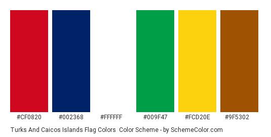 Turks and Caicos Islands Flag Colors - Color scheme palette thumbnail - #cf0820 #002368 #ffffff #009f47 #fcd20e #9f5302