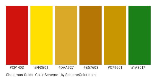 Christmas Golds - Color scheme palette thumbnail - #cf140d #ffde01 #daa927 #b57603 #c79601 #1a8017