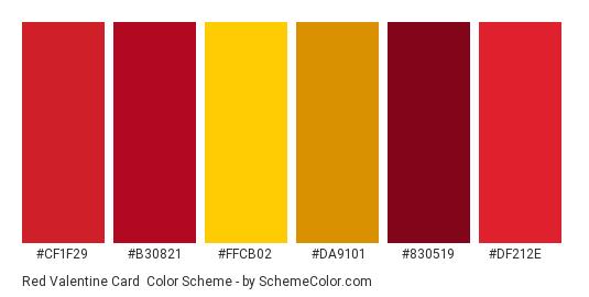 Red Valentine Card - Color scheme palette thumbnail - #cf1f29 #b30821 #ffcb02 #da9101 #830519 #df212e