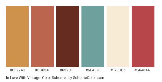 In Love with Vintage - Color scheme palette thumbnail - #cf924c #bb654f #652c1f #6ea09e #f7ebd5 #b6464a
