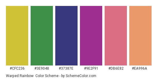 Warped Rainbow - Color scheme palette thumbnail - #cfc236 #3e9048 #37387e #9e2f91 #db6e82 #ea996a