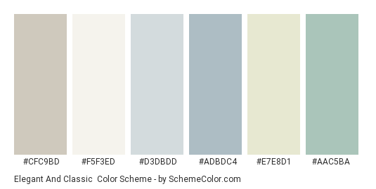 Elegant and Classic - Color scheme palette thumbnail - #cfc9bd #f5f3ed #d3dbdd #adbdc4 #e7e8d1 #aac5ba