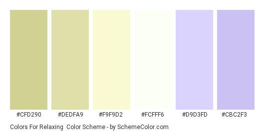 Colors for Relaxing - Color scheme palette thumbnail - #cfd290 #dedfa9 #f9f9d2 #fcfff6 #d9d3fd #cbc2f3