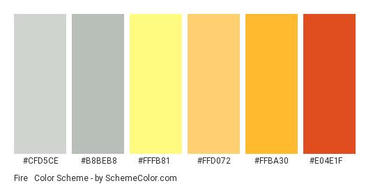 Fire & Ashes - Color scheme palette thumbnail - #cfd5ce #b8beb8 #FFFB81 #ffd072 #FFBA30 #E04E1F