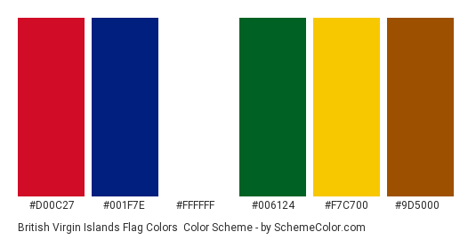 British Virgin Islands Flag Colors - Color scheme palette thumbnail - #d00c27 #001f7e #ffffff #006124 #f7c700 #9d5000