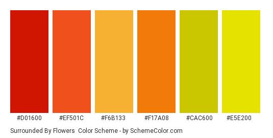 Surrounded by Flowers - Color scheme palette thumbnail - #d01600 #ef501c #f6b133 #f17a08 #cac600 #e5e200
