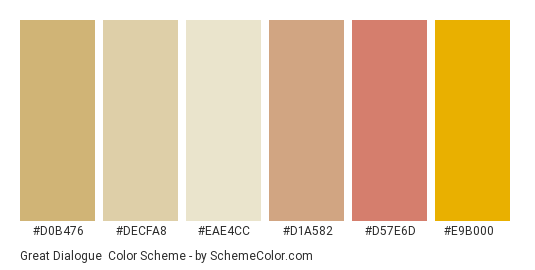 Great Dialogue - Color scheme palette thumbnail - #d0b476 #decfa8 #eae4cc #d1a582 #d57e6d #e9b000