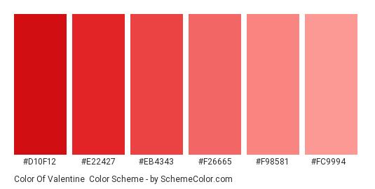 Color of Valentine - Color scheme palette thumbnail - #d10f12 #e22427 #eb4343 #f26665 #f98581 #fc9994