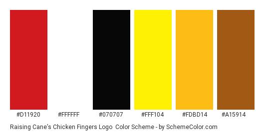 Raising Cane's Chicken Fingers Logo - Color scheme palette thumbnail - #d11920 #ffffff #070707 #fff104 #fdbd14 #a15914