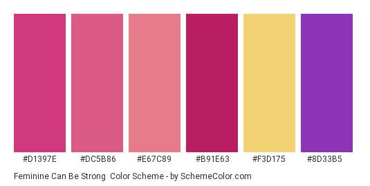 Feminine Can Be Strong - Color scheme palette thumbnail - #d1397e #dc5b86 #e67c89 #b91e63 #f3d175 #8d33b5