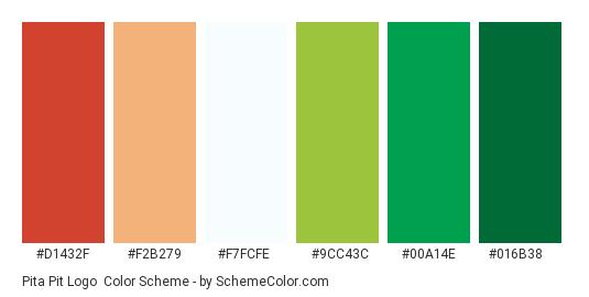 Pita Pit Logo - Color scheme palette thumbnail - #d1432f #f2b279 #f7fcfe #9cc43c #00a14e #016b38