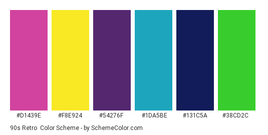 90s Retro - Color scheme palette thumbnail - #d1439e #f8e924 #54276f #1da5be #131c5a #38cd2c