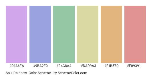 Soul Rainbow - Color scheme palette thumbnail - #d1a6ea #9ba2e0 #94c8a4 #dad9a3 #e1b57d #e09391