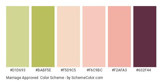 Marriage Approved - Color scheme palette thumbnail - #d1d693 #babf5e #f5d9c5 #f6c9bc #f2afa3 #602f44
