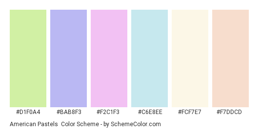 American Pastels - Color scheme palette thumbnail - #d1f0a4 #bab8f3 #f2c1f3 #c6e8ee #fcf7e7 #f7ddcd
