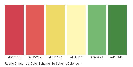 Rustic Christmas - Color scheme palette thumbnail - #d24150 #e25c57 #eeda67 #fff8b7 #76b972 #468942