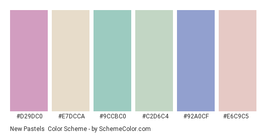 New Pastels - Color scheme palette thumbnail - #d29dc0 #e7dcca #9ccbc0 #c2d6c4 #92a0cf #e6c9c5