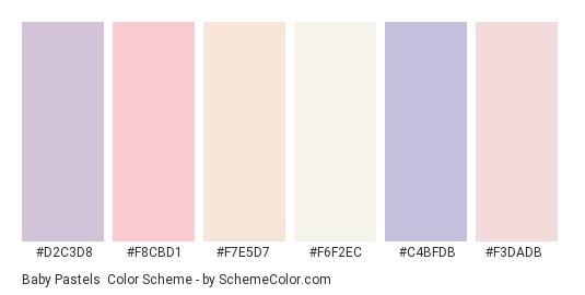 Baby Pastels - Color scheme palette thumbnail - #d2c3d8 #f8cbd1 #f7e5d7 #f6f2ec #c4bfdb #f3dadb