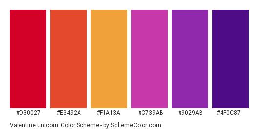 Valentine Unicorn - Color scheme palette thumbnail - #d30027 #e3492a #f1a13a #c739ab #9029ab #4f0c87