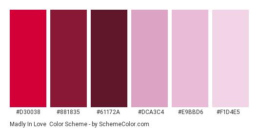 Madly in Love - Color scheme palette thumbnail - #d30038 #881835 #61172a #dca3c4 #e9bbd6 #f1d4e5