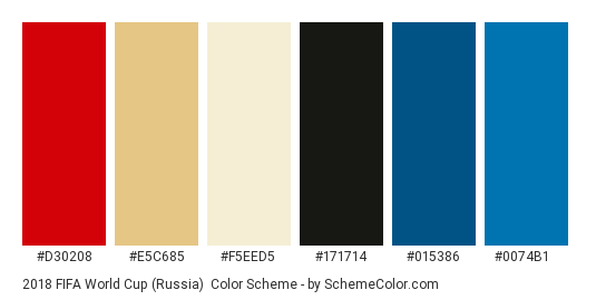2018 FIFA World Cup (Russia) - Color scheme palette thumbnail - #d30208 #e5c685 #f5eed5 #171714 #015386 #0074b1