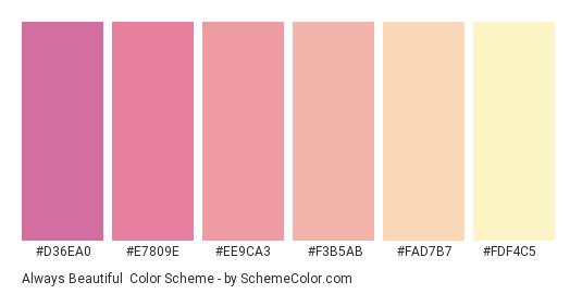 Always Beautiful - Color scheme palette thumbnail - #d36ea0 #e7809e #ee9ca3 #f3b5ab #fad7b7 #fdf4c5